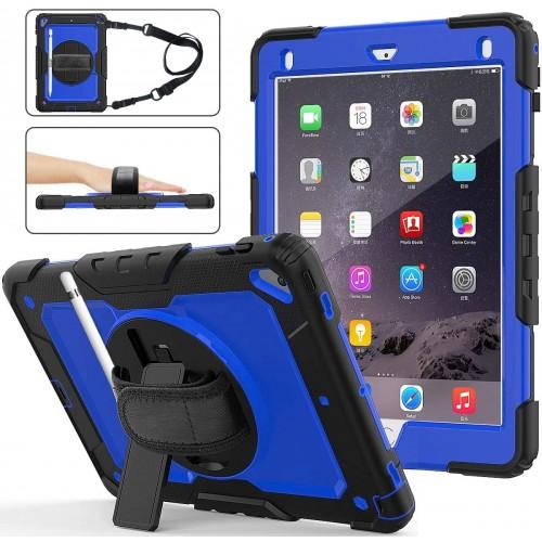 iPad 9.7 (2017 & 2018) hoes / case met screenprotector, handriem en schouderriem voor Horeca en Bouw blauw
