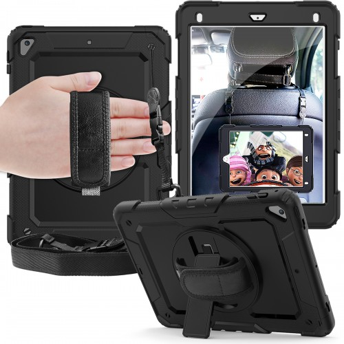 iPad 10.2 (2019) case / hoes met screenprotector, handriem en schouderriem voor Horeca en Bouw