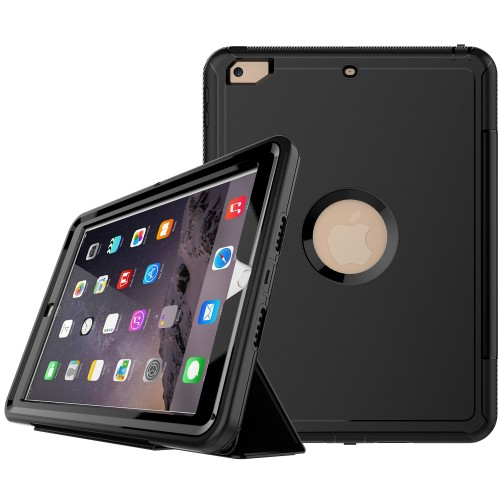 iPad 9.7 (2017 / 2018) schokbestendige case met screenprotector en Trifold standaard zwart