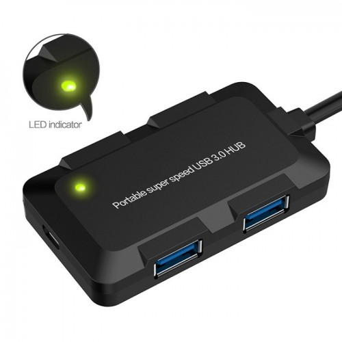 USB C hub naar 4x USB 3.0 Onten Zwart