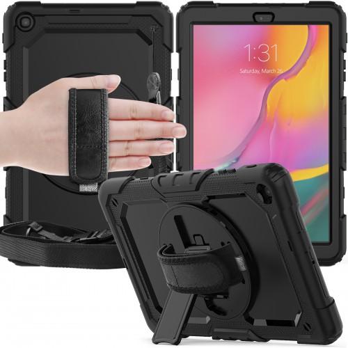 Samsung Galaxy Tab A 10.1 (2019) case met screenprotector, handriem en schouderriem voor Horeca en Bouw