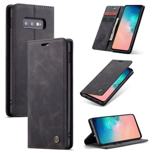 Zacht vintage hoesje / case met 2 kaarthouders en geldsleuf geschikt voor Samsung Galaxy S10e zwart