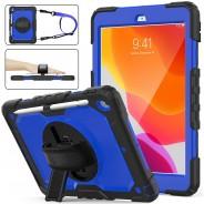 iPad 10.2 (2019 & 2020) case / hoes met screenprotector, handriem en schouderriem voor Horeca en Bouw Blauw