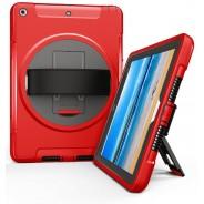 360 graden draaibare, rugged, iPad 9.7 (2017 & 2018) case met screenprotector rood