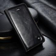 iPhone 5 / 5S / SE rustiek leren boekhoesje zwart