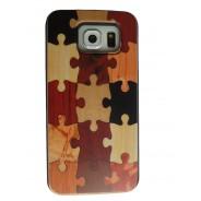 Samsung Galaxy S6 Edge hoesje met houten puzzel design achterkant