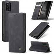 Samsung Galaxy S20 zacht vintage hoesje / case met 2 kaarthouders en geldsleuf zwart