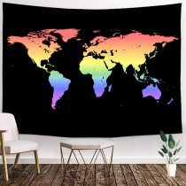 Ulticool - Wereldkaart Zwart - Regenboog  - Wandkleed - 200x150 cm - Groot wandtapijt - Poster