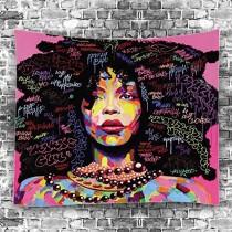 Ulticool - Vrouw Art Quotes Black Hair - Wandkleed - 200x150 cm - Groot wandtapijt - Poster