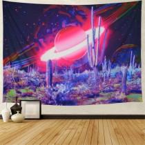 Ulticool - Planeten Sterren Psychedelisch Cactus - Wandkleed - 200x150 cm - Groot wandtapijt - Poster