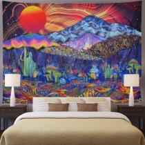 Ulticool - Zon Oranje Psychedelische Bergen - Wandkleed - 200x150 cm - Groot wandtapijt - Poster