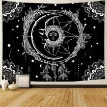 Ulticool - Zon Maan Mandala Zwart Wit Tarot - Wandkleed - 200x150 cm - Groot wandtapijt - Poster