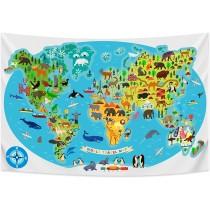 Ulticool - Wereldkaart Kinderkamer Dieren Natuur - Wandkleed - 200x150 cm - Groot wandtapijt - Poster