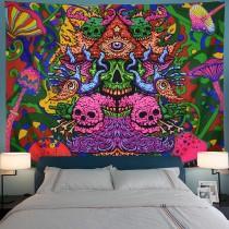 Ulticool - Skull Schedel Psychedelisch - Wandkleed - 200x150 cm - Groot wandtapijt - Poster