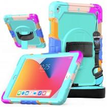 iPad 10.2 (2019 & 2020) case / hoes met screenprotector, handriem en schouderriem voor kinderen en scholen - Kleurrijk Oceaan Blauw