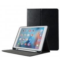 iPad 9.7 (2017 / 2018) leren case / hoes zwart met Apple pencil houder