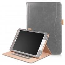 iPad Air 1 / Air 2 / 9.7 (2017) leren case / hoes grijs incl. standaard met 3 standen