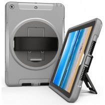 360 graden draaibare, rugged, iPad 9.7 (2017 & 2018) / Air 2 / Pro 9.7 case met screenprotector grijs