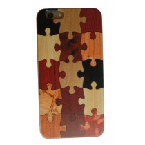 iPhone 6 Plus en iPhone 6S Plus hoesje met houten puzzel design achterkant