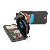iPhone X / XS Leren portemonnee hoesje met uitneembare telefoon case zwart