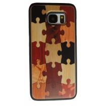 Samsung Galaxy S7 Edge hoesje met houten puzzel design achterkant