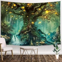 ulticool-sprookje-elf-boom-magisch-bos-natuur-wandkleed-200x150 cm-groot-wandtapijt-kinderkamer-poster