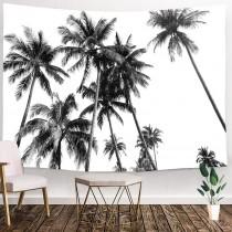 Ulticool - Strand Natuur Retro Palmboom Kunst Zwart Wit - Wandkleed - 200x150 cm - Groot wandtapijt - Poster
