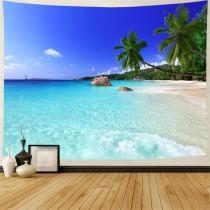 Ulticool - Strand Natuur Zee Eiland Palmboom - Wandkleed - 200x150 cm - Groot wandtapijt - Poster