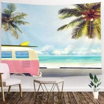 Ulticool - Volkswagen bus Palmboom Zon Zee - Wandkleed - 200x150 cm - Groot wandtapijt - Poster