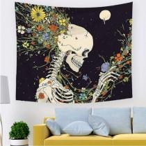 Ulticool - Skelet Bloemen Psychedelisch Natuur - Wandkleed - 200x150 cm - Groot wandtapijt - Poster