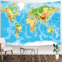 Ulticool - Wereldkaart Wanddecoratie  - Wandkleed - 200x150 cm - Groot wandtapijt - Poster
