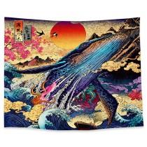 Ulticool - Walvis Art Kunst Japan - Wandkleed - 200x150 cm - Groot wandtapijt - Poster
