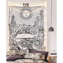 Ulticool - Zon zwart wit - Wandkleed - 200x150 cm - Groot wandtapijt - Poster