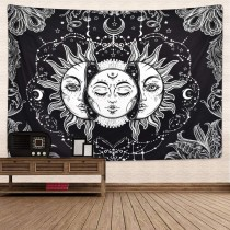 Ulticool - Zon Maan Zodiac Tarot Natuur Bohemian - Wandkleed - 200x150 cm - Groot wandtapijt - Poster - Zwart/Wit