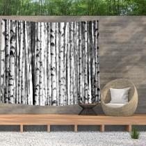 Ulticool - Bomen Aesthetic Natuur Zwart Wit - Wandkleed  Poster - 200x150 cm - Groot wandtapijt -  Tuinposter Tapestry