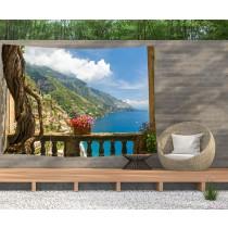 Ulticool - Doorkijk Balkon Bergen Zee Natuur - Wandkleed  Poster - 200x150 cm - Groot wandtapijt -  Tuinposter Tapestry