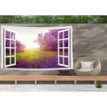 Ulticool - Doorkijk Bloemen Lavendel Natuur - Wandkleed  Poster - 200x150 cm - Groot wandtapijt -  Tuinposter Tapestry