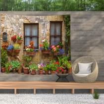 Ulticool - Doorkijk Ramen Planten Bloemen Natuur - Wandkleed  Poster - 200x150 cm - Groot wandtapijt -  Tuinposter Tapestry