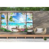 Ulticool - Doorkijk Strand Zee Natuur - Wandkleed  Poster - 200x150 cm - Groot wandtapijt -  Tuinposter Tapestry