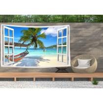 Ulticool - Doorkijk Strand Zee Palmboom Hangmat - Wandkleed  Poster - 200x150 cm - Groot wandtapijt -  Tuinposter Tapestry