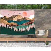Ulticool - Natuur Zon Bergen Bohemian - Wandkleed  Poster - 200x150 cm - Groot wandtapijt -  Tuinposter Tapestry
