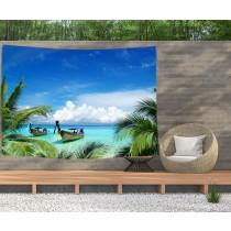 Ulticool - Strand Zee Boot Palmboom Natuur - Wandkleed  Poster - 200x150 cm - Groot wandtapijt -  Tuinposter Tapestry