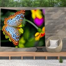 Ulticool - Vlinder Bloemen Natuur - Wandkleed  Poster - 200x150 cm - Groot wandtapijt -  Tuinposter Tapestry
