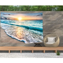 Ulticool - Zee Golven Strand Natuur - Wandkleed  Poster - 200x150 cm - Groot wandtapijt -  Tuinposter Tapestry