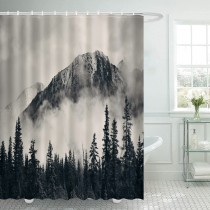 Ulticool Douchegordijn - Bergen Natuur Mistig Bos  - 180 x 200 cm - met 12 ringen - Zwart Wit
