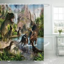 Ulticool Douchegordijn - Dinosaurus Groep T-Rex - 180 x 200 cm - met 12 ringen - Groen