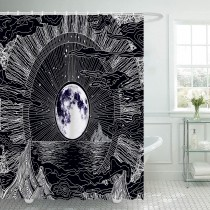 Ulticool Douchegordijn - Maan Sterren Natuur Wolken Bohemian Psychedelische bergen - 180 x 200 cm - met 12 ringen - Zwart