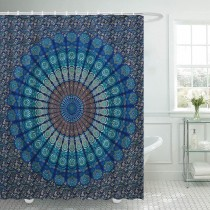 Ulticool Douchegordijn - Mandala Kleed - 180 x 200 cm - met 12 ringen - Blauw