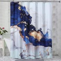Ulticool Douchegordijn - Marmer Goud Abstract Kunst - 180 x 200 cm - met 12 ringen - Blauw