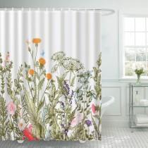Ulticool Douchegordijn - Natuur Bloemen Retro Vintage - 180 x 200 cm - met 12 ringen - Kleurrijk